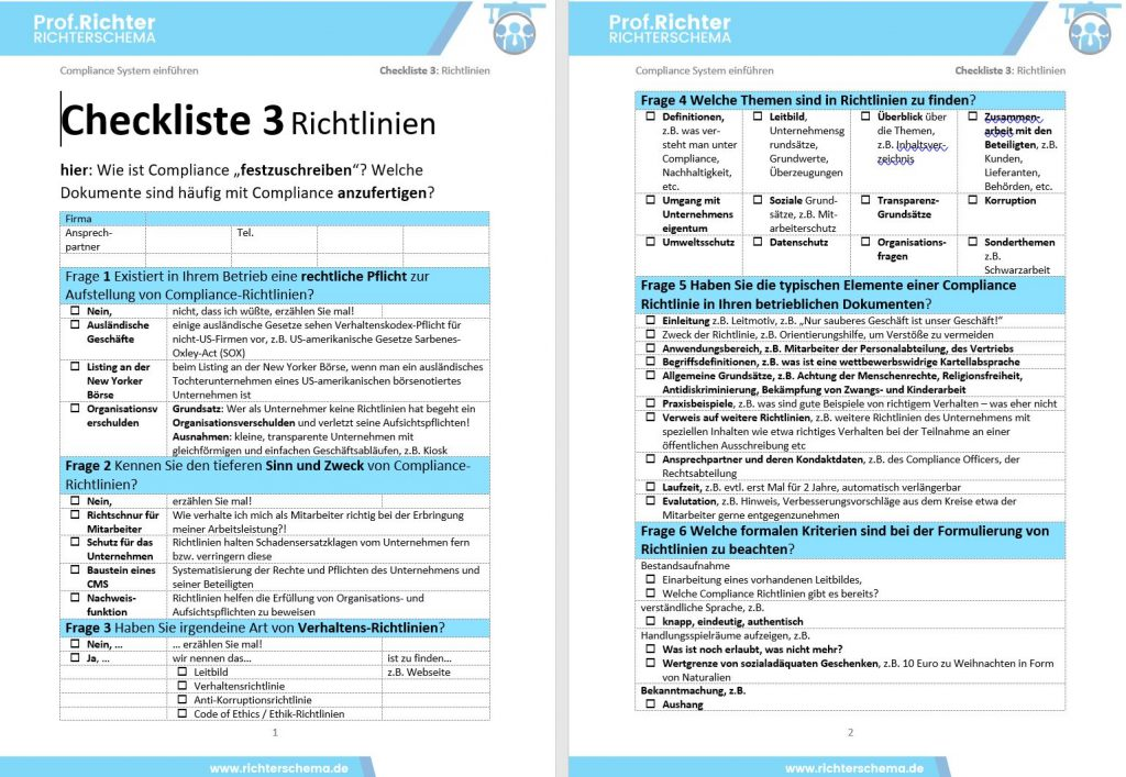 Checkliste 3 Compliance Richtlinien 142 Www Richterschema De